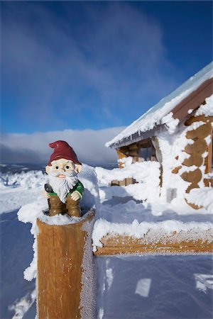dwarf - Garden Gnome at Cabin in Winter Stock Photo - Rights-Managed, Code: 700-03739361