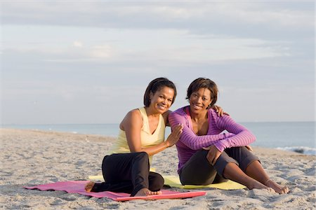 Two Women Sitting on Yoga Mats on Beach Stock Photo - Rights-Managed, Code: 700-03762643