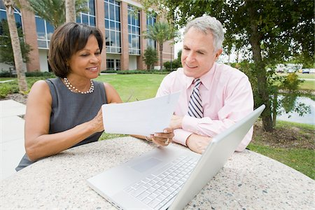 Business People with Laptop Outdoors Stock Photo - Rights-Managed, Code: 700-03762664