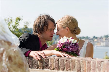 Newlywed Couple Gazing at Each Other Outdoors Stock Photo - Rights-Managed, Code: 700-03777759