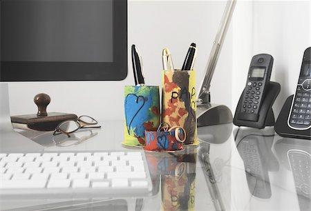 Handmade Desk Organizer on Desk Stock Photo - Rights-Managed, Code: 700-03777877