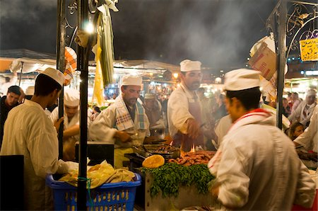 Cooks Selling Food at Djemaa el Fna, Marrakech, Morocco Stock Photo - Rights-Managed, Code: 700-03778119
