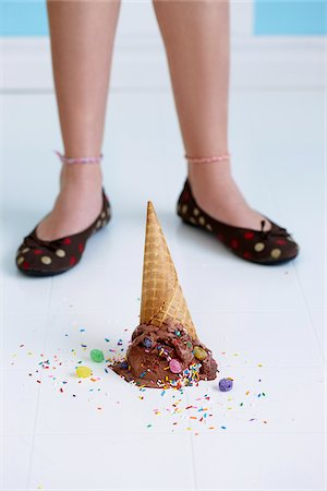 Dropped Chocolate Ice Cream Cone Upside Down on Floor at Girl's Feet Stock Photo - Rights-Managed, Code: 700-03787304