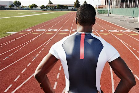 peter griffith - Back of Runner on Race Track Stock Photo - Rights-Managed, Code: 700-03787632