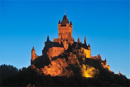 Cochem Castle at Dusk, Cochem, Rhineland-Palatinate, Germany Stock Photo - Rights-Managed, Code: 700-03783358