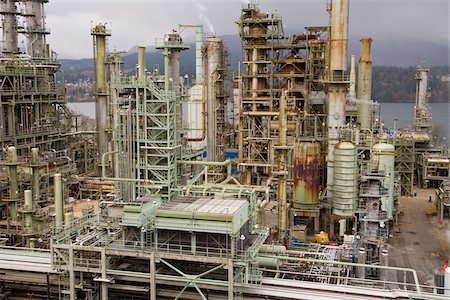 Chevron Oil Refinery on Burrard Inlet, Burnaby, British Columbia, Canada Stock Photo - Rights-Managed, Code: 700-03805564
