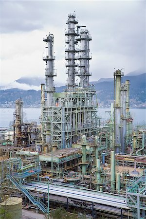 Chevron Oil Refinery on Burrard Inlet, Burnaby, British Columbia, Canada Stock Photo - Rights-Managed, Code: 700-03805561