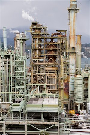 Chevron Oil Refinery on Burrard Inlet, Burnaby, British Columbia, Canada Stock Photo - Rights-Managed, Code: 700-03805562