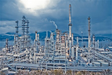 Chevron Oil Refinery on Burrard Inlet, Burnaby, British Columbia, Canada Stock Photo - Rights-Managed, Code: 700-03805563