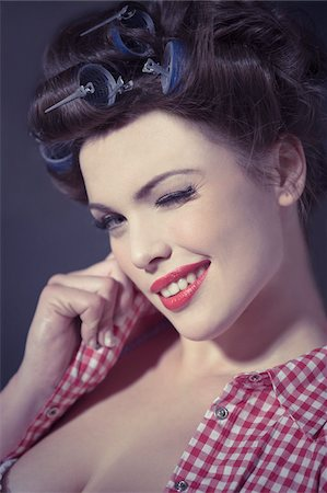 flirting - Close-Up of Pin Up Girl Winking Stock Photo - Rights-Managed, Code: 700-03814105