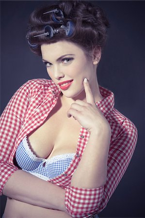 Portrait of Woman Dressed as 1950s Pin-Up Girl Stock Photo - Rights-Managed, Code: 700-03814102