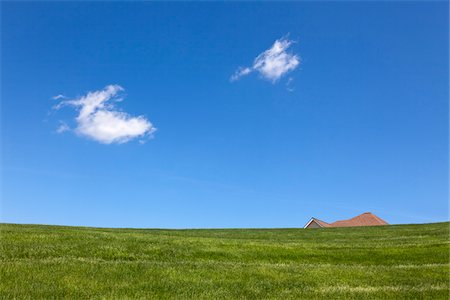 Roof of House Peeking over Hill, near West Chester, Pennsylvania, USA Stock Photo - Rights-Managed, Code: 700-03814116