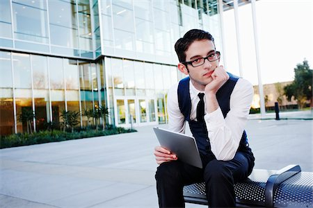 people sitting on bench - Businessman with Tablet PC Sitting on Bench Stock Photo - Rights-Managed, Code: 700-03814363