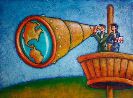 quest - Business People Using Telescope in Crow's Nest Stock Photo - Rights-Managed, Code: 700-03814669