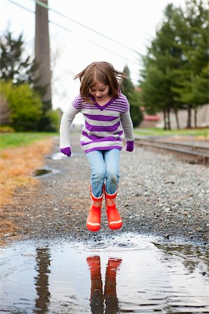 Girl Jumping in Puddle Stock Photo - Rights-Managed, Code: 700-03814999