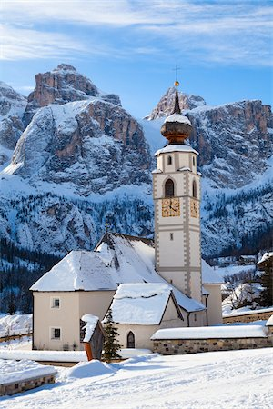 snow capped - Village Church, Colfosco, Alta Badia, South Tyrol, Italy Stock Photo - Rights-Managed, Code: 700-03849405