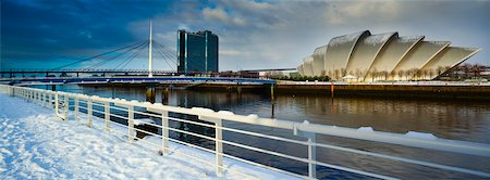 european bar building - Panoramic View of Clyde Auditorium and River Clyde, Glasgow, Scotland Stock Photo - Rights-Managed, Code: 700-03849400