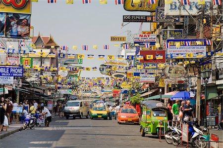pennant flag - Khaosan Road, Phra Nakhon District, Bangkok, Thailand Stock Photo - Rights-Managed, Code: 700-03849739