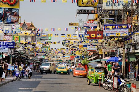 Khaosan Road, Phra Nakhon District, Bangkok, Thailand Stock Photo - Rights-Managed, Code: 700-03849739