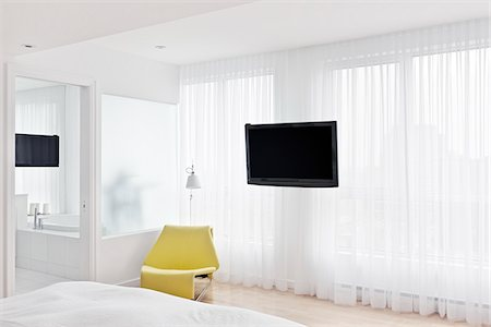 Bedroom with Television Stock Photo - Rights-Managed, Code: 700-03865323