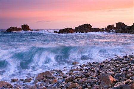 Rocky Coast and Waves at Dawn, Porz Bugale, Cotes-d'Armor, Brittany, France Stock Photo - Rights-Managed, Code: 700-03865548