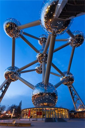 Close-Up of Atomium Structure at Night, Brussels, Belgium Stock Photo - Rights-Managed, Code: 700-03865554