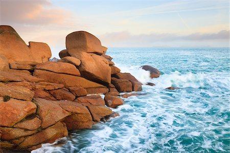 Rocky Coastline, Cote de Granite Rose, Bretagne, France Stock Photo - Rights-Managed, Code: 700-03865570