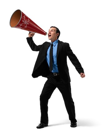 Businessman Yelling into Megaphone Stock Photo - Rights-Managed, Code: 700-03891177