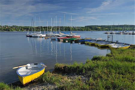 Sailboats and Rowboats at Dock, Sudufer, Mohnetalsperre, Mohnesee, North Rhine-Westphalia, Germany Stock Photo - Rights-Managed, Code: 700-03958097