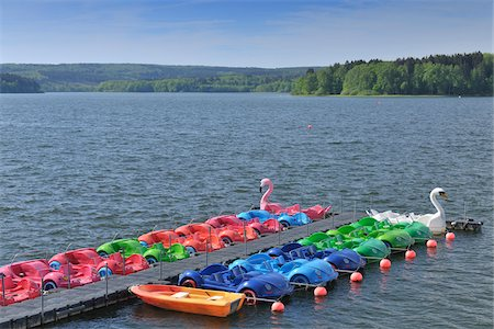 Colorful Pedal Boats, Mohnesee, North Rhine-Westphalia, Germany Stock Photo - Rights-Managed, Code: 700-03958093