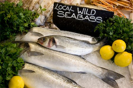 Wild sea bass at Whitstable fish market Stock Photo - Rights-Managed, Code: 824-06492184