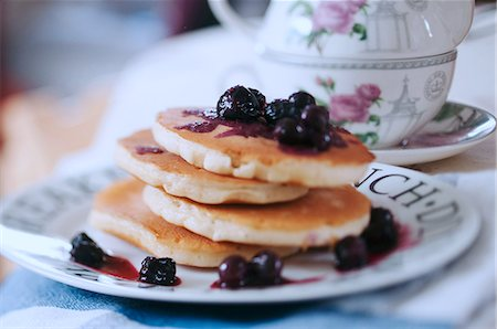 Blueberry Pancakes on a china plate Stock Photo - Rights-Managed, Code: 824-07193143