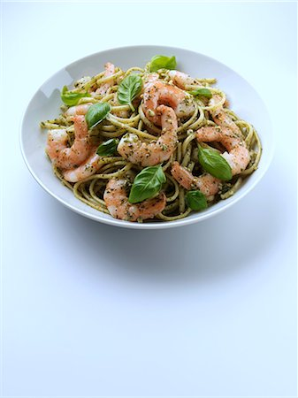 King prawn with pesto linguini pasta Stock Photo - Rights-Managed, Code: 824-07193322