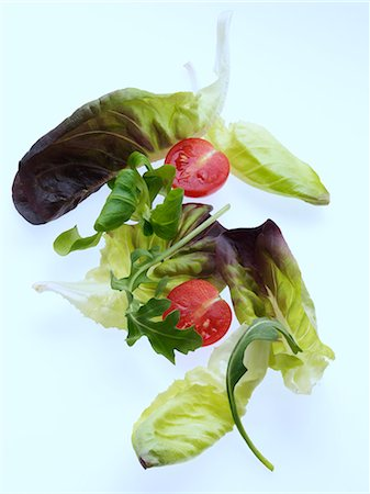 Salad leaves on a white background Stock Photo - Rights-Managed, Code: 824-07193375