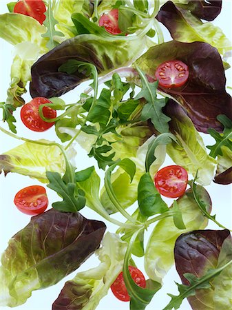 Salad leaves on a white background Stock Photo - Rights-Managed, Code: 824-07193377