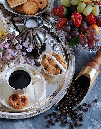 Black coffee and fruit Stock Photo - Rights-Managed, Code: 824-07193492