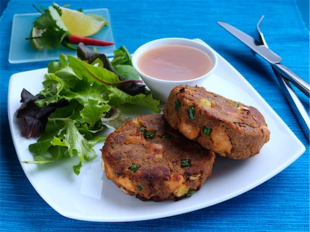 spicy - Thai fishcakes and salad Stock Photo - Rights-Managed, Code: 824-07193572