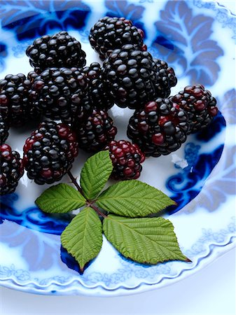 Ripe blackberries on an antique plate on a white background Stock Photo - Rights-Managed, Code: 824-07585864
