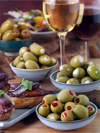 pimento - Stuffed olives with bruschetta and wine Stock Photo - Rights-Managed, Code: 824-07586052