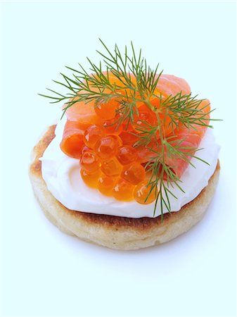 restaurant - Smoked salmon roe sour cream dill blini Stock Photo - Rights-Managed, Code: 824-07586088