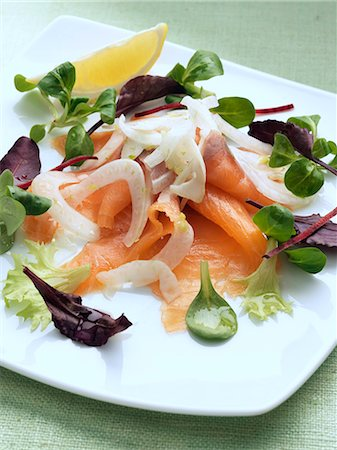 smoked - Salmon with fennel salad Stock Photo - Rights-Managed, Code: 824-07586230