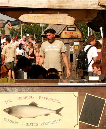 smoked - Smoked herring stand with kipper man and kipper house Stock Photo - Rights-Managed, Code: 824-02887880