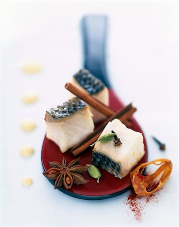 Pan-fried Mediterranean bass with yoghurt Stock Photo - Rights-Managed, Code: 825-05815323