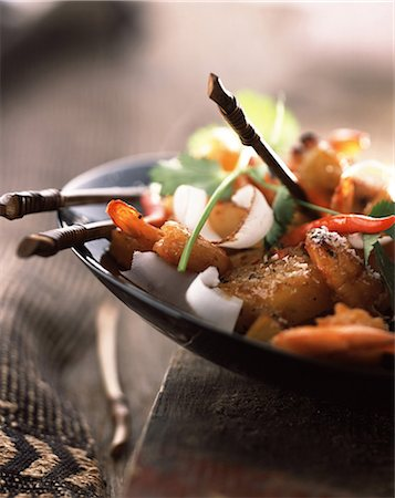 Pan fried prawns, pineapple and coconut Stock Photo - Rights-Managed, Code: 825-05988882
