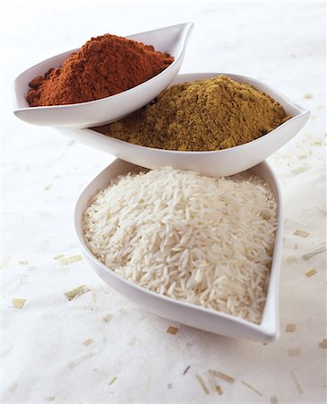 Basmati rice, curry and chilli powder Stock Photo - Rights-Managed, Code: 825-05989045