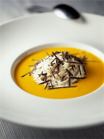 smoked - Cream of pumpkin soup with bacon mouuse and truffles Stock Photo - Rights-Managed, Code: 825-06045828