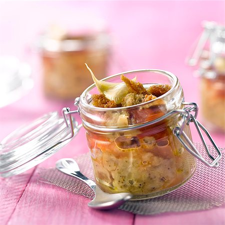 Eggplant caviar with tomato puree,garlic cracknel biscuits Stock Photo - Rights-Managed, Code: 825-06315307