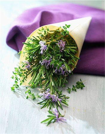 Bunch of fresh thyme and rosemary Stock Photo - Rights-Managed, Code: 825-06815263
