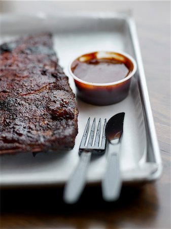 smoked - Smoked pork spare ribs from Smoque BBQ 's restaurant Stock Photo - Rights-Managed, Code: 825-06817398