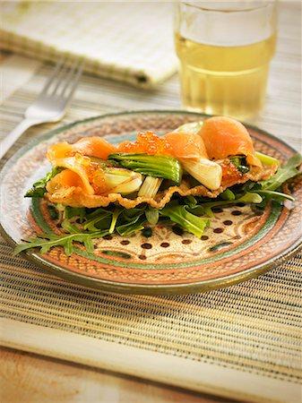 smoked - Smoked salmon,smoked cod and pak-choy cabbage on crisp wonton pasta Stock Photo - Rights-Managed, Code: 825-07522278